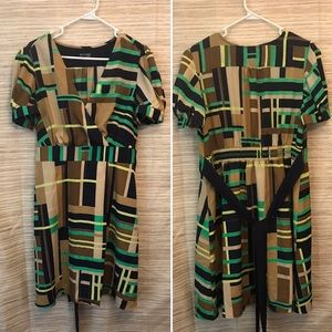 Faux wrap front dress w elastic back panel